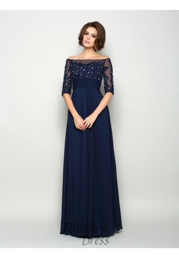 1/2 Sleeves Off-the-Shoulder Chiffon Floor-Length Mother of the Bride Dress