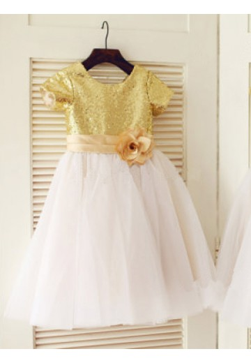 A-line/Princess Scoop Short Sleeves Floor-length Tulle Flower Girl Dresses with Sequins