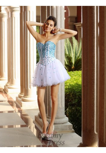 A-Line/Princess Sweetheart Tulle Short/Mini Dress