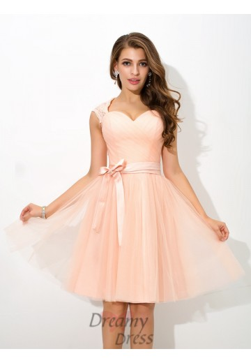 A-line Straps Sash/Ribbon/Belt Short Net Bridesmaid Dress