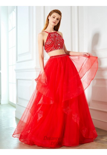 A-Line Spaghetti Straps Floor-Length Tulle Two Piece Dress with Beading
