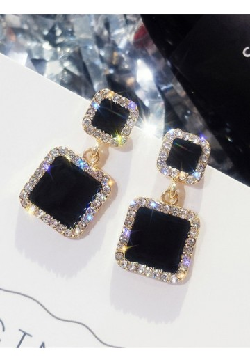 Square Rhinestone Earrings