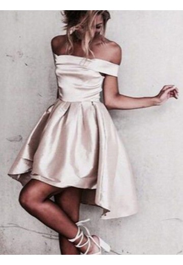 A-Line Off-the-Shoulder Satin Short/Mini Dress