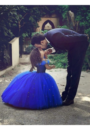 Ball Gown Off-the-Shoulder Floor-Length Tulle Flower Girl Dress