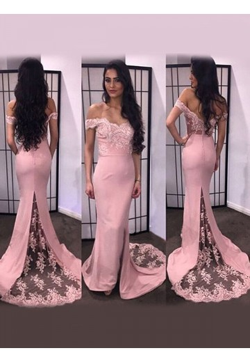 Mermaid Off-the-Shoulder Lace Satin Sweep/Brush Train Dress