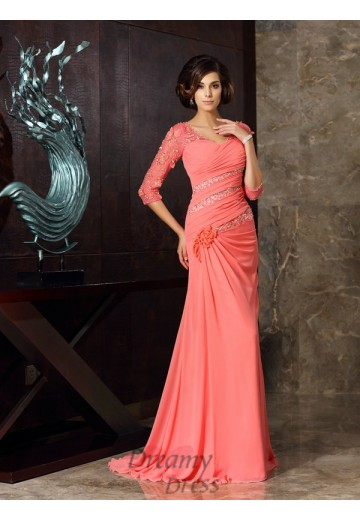 Sweetheart 1/2 Sleeves Sweep/Brush Train Chiffon Mother of the Bride Dress