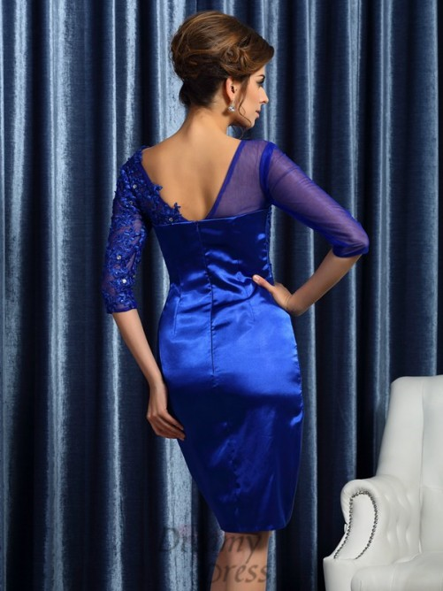 3/4 Sleeves Elastic Woven Satin Knee-Length Mother of the Bride Dress