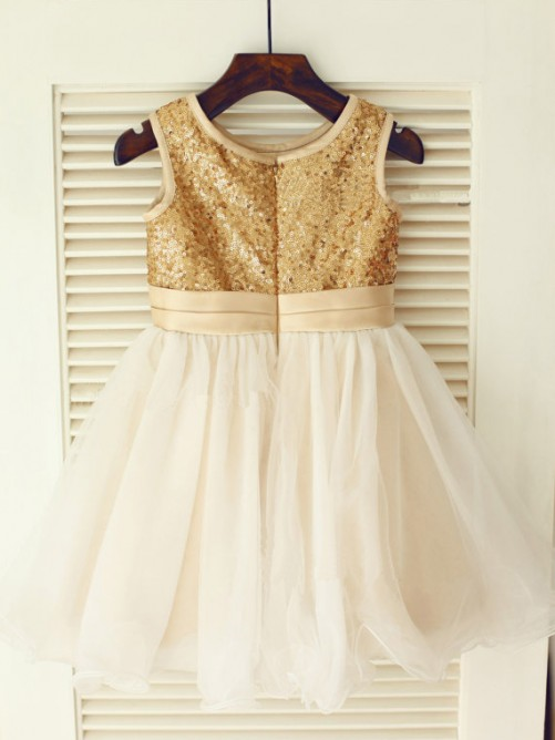 A-line/Princess Scoop Floor-length Organza Flower Girl Dresses with Sequins