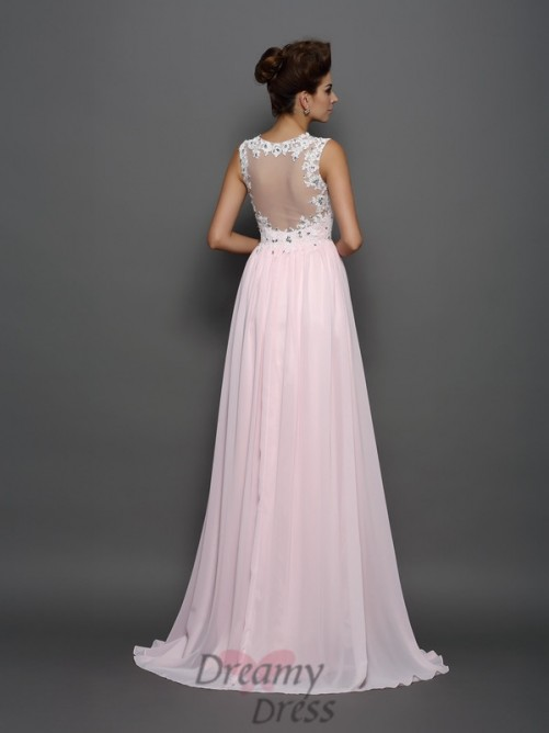 A-Line/Princess Straps Chiffon Sweep/Brush Train Dress