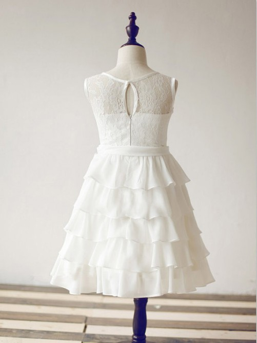 A-line Scoop Floor-length Chiffon Flower Girl Dresses with Lace