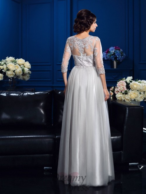 A-line Scoop Long Elastic Woven Satin Mother Of The Bride Dress