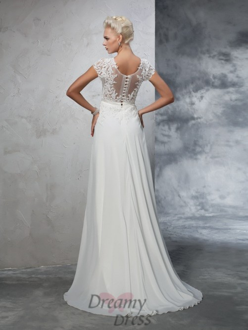 A-line Short Sleeves Chiffon Sweep/Brush Train Wedding Dress