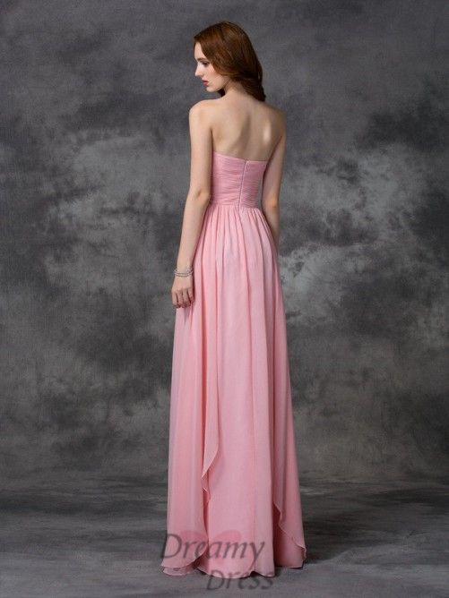 A-line Sweetheart Ruffles Chiffon Long Dress