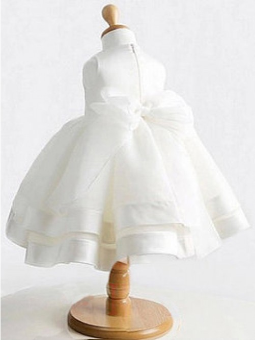 Ball Gown Jewel Tea-length Satin Flower Girl Dresses with Bowknot