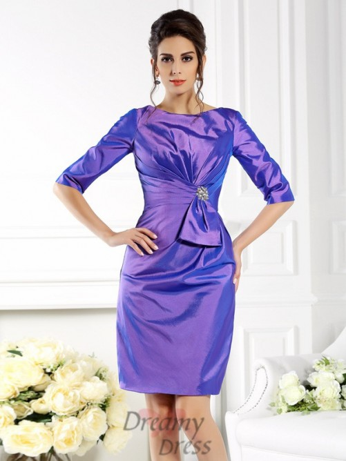 Bateau 1/2 Sleeves Knee-Length Taffeta Mother of the Bride Dress