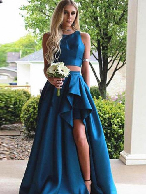 A-Line Scoop Sweep/Brush Train Satin Two Piece Dress