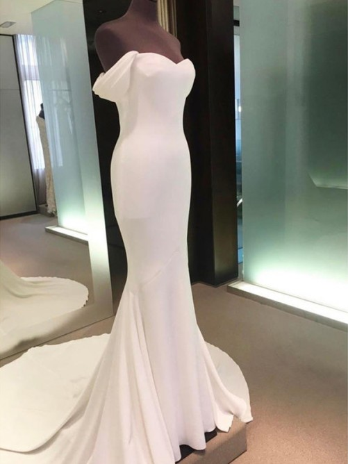 Sheath Off-the-Shoulder Court Train Spandex Wedding Dress