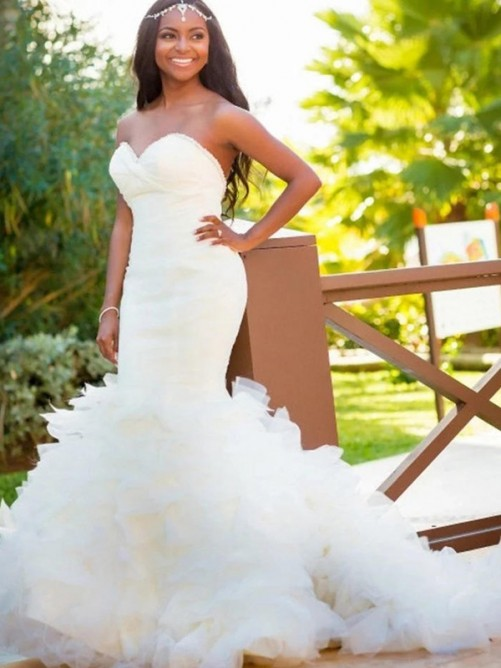 Mermaid Sweetheart Court Train Organza Wedding Dress