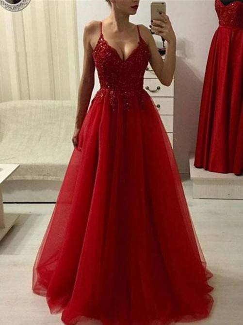 A-Line Spaghetti Straps Floor-Length Tulle Dress