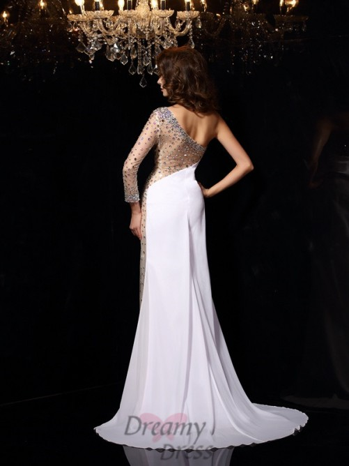 One-Shoulder Long Sleeves Sweep/Brush Train Chiffon Dress