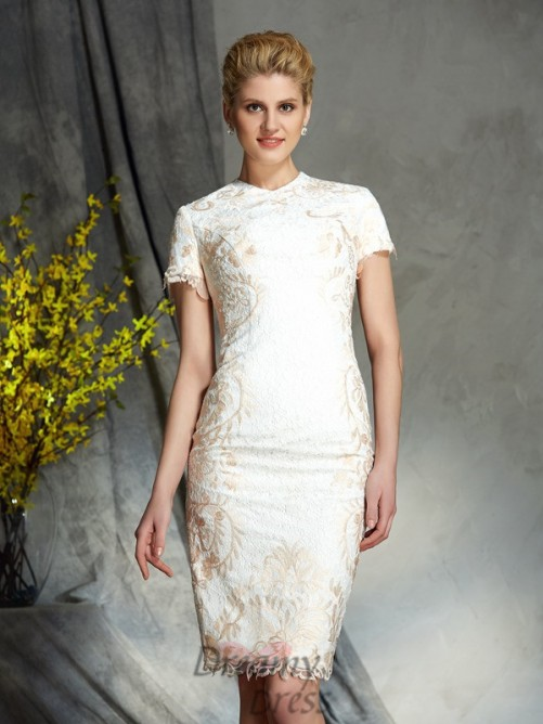 Sheath/Column Jewel Lace Short Mother of the Bride Dress