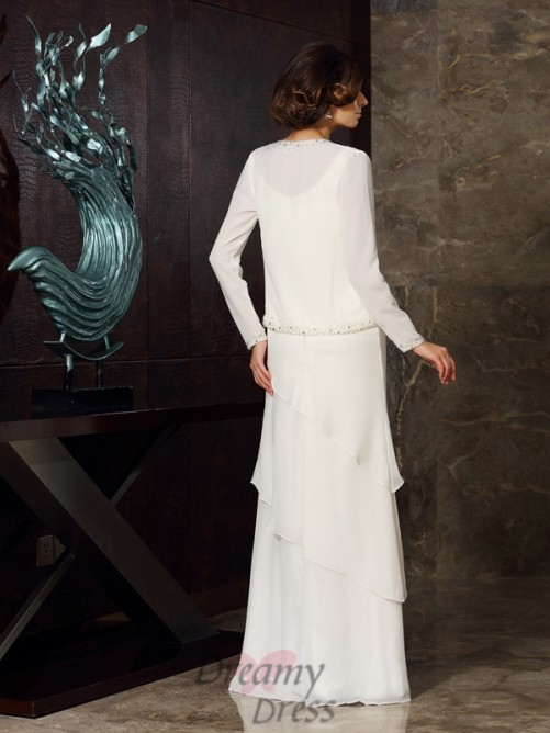 Sheath/Column Scoop Chiffon Floor-Length Mother of the Bride Dress