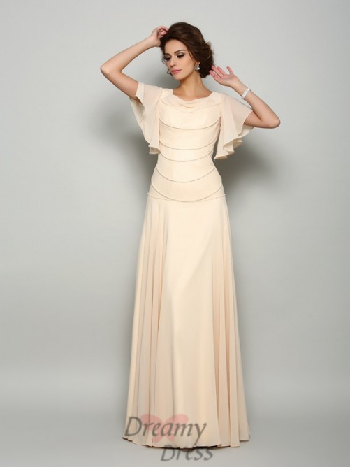 Short Sleeves Square Chiffon Floor-Length Mother of the Bride Dress