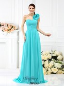 A-Line/Princess One-Shoulder Sweep/Brush Train Chiffon Bridesmaid Dress