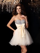 A-Line/Princess Sweetheart Chiffon Short/Mini Dress