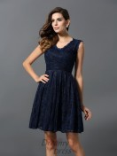 A-Line/Princess V-neck Satin Short/Mini Bridesmaid Dress