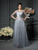 Scoop 1/2 Sleeves Floor-Length Satin Mother of the Bride Dress
