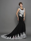 Trumpet/Mermaid Scoop Chiffon Lace Chapel Train Dress