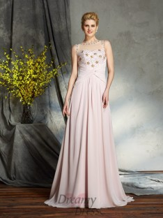 A-line Bateau Chiffon Sweep/Brush Train Mother of the Bride Dress