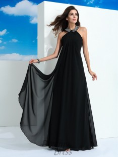 A-line Halter Chiffon Long Dress
