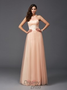 A-line Halter Net Long Dress