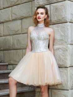 A-Line Halter Sleeveless Net Short Dress with Beading
