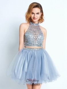 A-Line High Neck Sleeveless Short Net Two Piece Dress with Beading