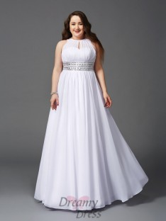 A-line Jewel Floor-Length Chiffon Plus Size Dress