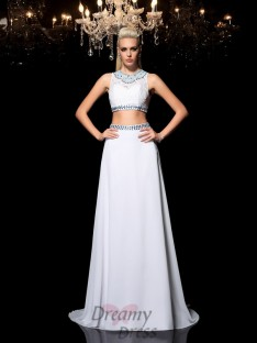 A-line Jewel Floor-Length Chiffon Two Piece Dress
