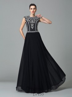 A-line Jewel Short Sleeves Chiffon Long Dress