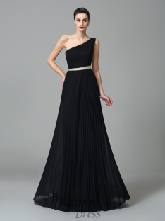 A-line One-Shoulder Chiffon Long Dress