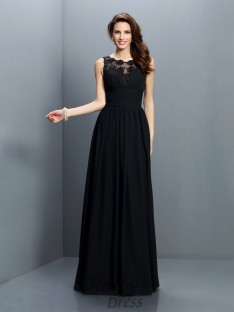 A-Line/Princess Bateau Floor-Length Chiffon Bridesmaid Dress