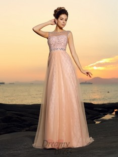 A-Line/Princess Bateau Floor-length Chiffon Lace Dress