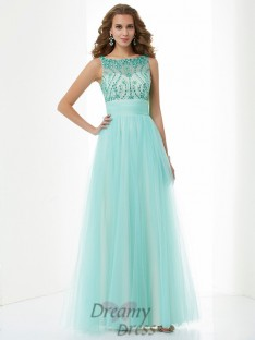 A-Line/Princess Bateau Floor-Length Elastic Woven Satin Dress