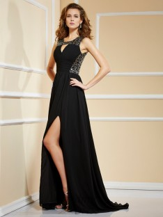 A-line/Princess Chiffon High Neck Paillette Sweep/Brush Train Dress