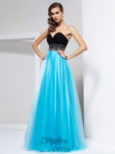 A-Line/Princess Floor-Length Sweetheart Net Dress