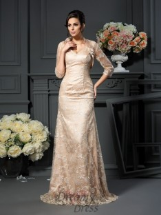 A-Line/Princess Lace Elastic Woven Satin Long Mother of the Bride Dress
