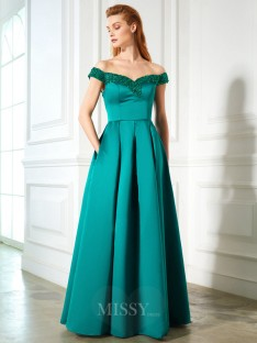 A-Line/Princess Off-the-Shoulder Sleeveless Satin Floor-Length Dress