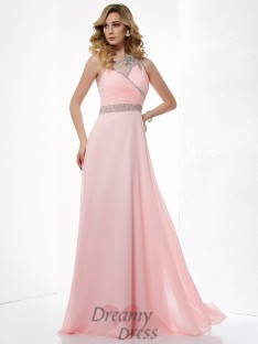 A-Line/Princess One-Shoulder Chiffon Floor-Length Dress