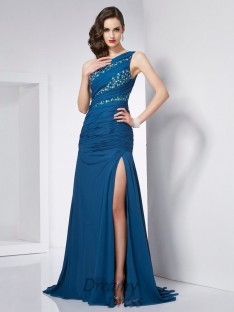A-Line/Princess One-Shoulder Chiffon Sweep/Brush Train Dress